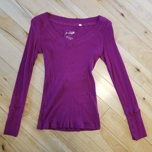 Womens Purple Long Sleeve Shirt (L)